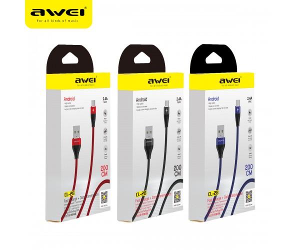 Дата-кабель AWEI CL-28 Micro (2 м.,металл.коннектор,нейлон,поддержка 2.4А) цвет: красный